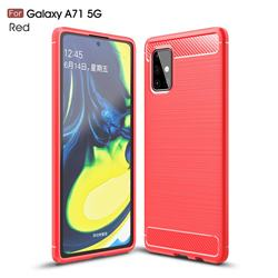 Luxury Carbon Fiber Brushed Wire Drawing Silicone TPU Back Cover for Samsung Galaxy A71 5G - Red