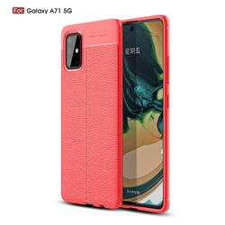 Luxury Auto Focus Litchi Texture Silicone TPU Back Cover for Samsung Galaxy A71 5G - Red