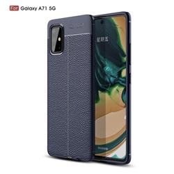 Luxury Auto Focus Litchi Texture Silicone TPU Back Cover for Samsung Galaxy A71 5G - Dark Blue