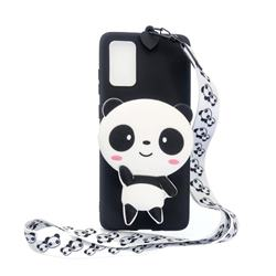 White Panda Neck Lanyard Zipper Wallet Silicone Case for Samsung Galaxy A71 5G