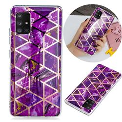 Purple Rhombus Galvanized Rose Gold Marble Phone Back Cover for Samsung Galaxy A71 5G