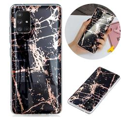 Black Galvanized Rose Gold Marble Phone Back Cover for Samsung Galaxy A71 5G