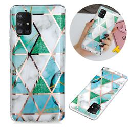 Green White Galvanized Rose Gold Marble Phone Back Cover for Samsung Galaxy A71 5G