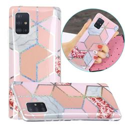 Pink Marble Painted Galvanized Electroplating Soft Phone Case Cover for Samsung Galaxy A71 5G