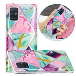 Triangular Marble Painted Galvanized Electroplating Soft Phone Case Cover for Samsung Galaxy A71 5G