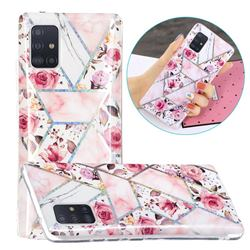 Rose Flower Painted Galvanized Electroplating Soft Phone Case Cover for Samsung Galaxy A71 5G