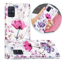 Magnolia Painted Galvanized Electroplating Soft Phone Case Cover for Samsung Galaxy A71 5G