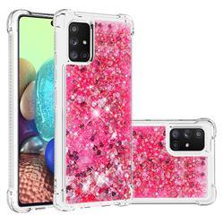 Dynamic Liquid Glitter Sand Quicksand TPU Case for Samsung Galaxy A71 5G - Pink Love Heart