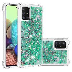 Dynamic Liquid Glitter Sand Quicksand TPU Case for Samsung Galaxy A71 5G - Green Love Heart