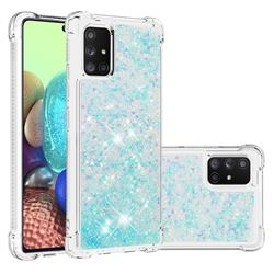 Dynamic Liquid Glitter Sand Quicksand TPU Case for Samsung Galaxy A71 5G - Silver Blue Star