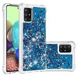 Dynamic Liquid Glitter Sand Quicksand TPU Case for Samsung Galaxy A71 5G - Blue Love Heart
