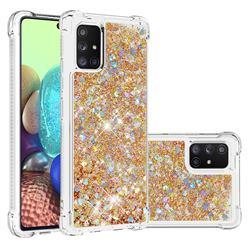 Dynamic Liquid Glitter Sand Quicksand TPU Case for Samsung Galaxy A71 5G - Rose Gold Love Heart