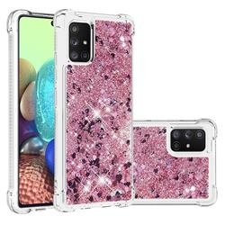Dynamic Liquid Glitter Sand Quicksand Star TPU Case for Samsung Galaxy A71 5G - Diamond Rose