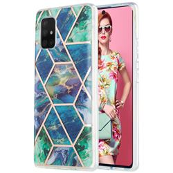 Blue Green Marble Pattern Galvanized Electroplating Protective Case Cover for Samsung Galaxy A71 5G