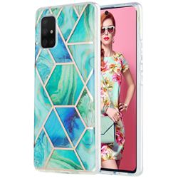Green Glacier Marble Pattern Galvanized Electroplating Protective Case Cover for Samsung Galaxy A71 5G