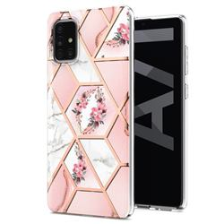 Pink Flower Marble Electroplating Protective Case Cover for Samsung Galaxy A71 5G