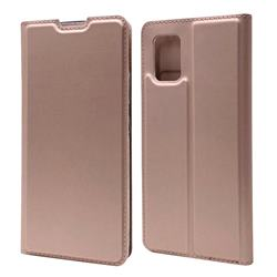 Ultra Slim Card Magnetic Automatic Suction Leather Wallet Case for Samsung Galaxy A71 5G - Rose Gold