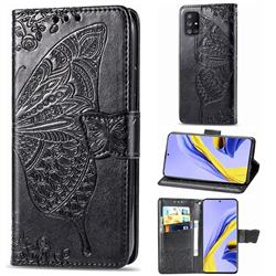 Embossing Mandala Flower Butterfly Leather Wallet Case for Samsung Galaxy A71 5G - Black