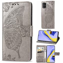 Embossing Mandala Flower Butterfly Leather Wallet Case for Samsung Galaxy A71 5G - Gray