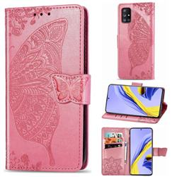 Embossing Mandala Flower Butterfly Leather Wallet Case for Samsung Galaxy A71 5G - Pink