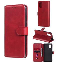 Retro Calf Matte Leather Wallet Phone Case for Samsung Galaxy A71 5G - Red