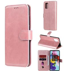 Retro Calf Matte Leather Wallet Phone Case for Samsung Galaxy A71 5G - Pink