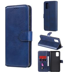 Retro Calf Matte Leather Wallet Phone Case for Samsung Galaxy A71 5G - Blue