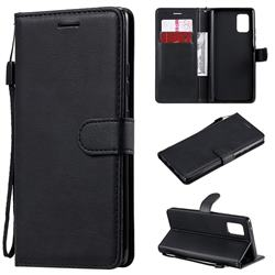 Retro Greek Classic Smooth PU Leather Wallet Phone Case for Samsung Galaxy A71 5G - Black