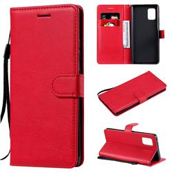 Retro Greek Classic Smooth PU Leather Wallet Phone Case for Samsung Galaxy A71 5G - Red