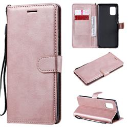 Retro Greek Classic Smooth PU Leather Wallet Phone Case for Samsung Galaxy A71 5G - Rose Gold