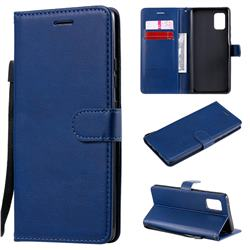 Retro Greek Classic Smooth PU Leather Wallet Phone Case for Samsung Galaxy A71 5G - Blue
