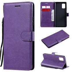 Retro Greek Classic Smooth PU Leather Wallet Phone Case for Samsung Galaxy A71 5G - Purple