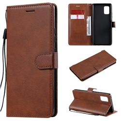 Retro Greek Classic Smooth PU Leather Wallet Phone Case for Samsung Galaxy A71 5G - Brown