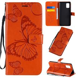 Embossing 3D Butterfly Leather Wallet Case for Samsung Galaxy A71 5G - Orange