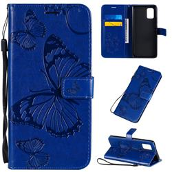 Embossing 3D Butterfly Leather Wallet Case for Samsung Galaxy A71 5G - Blue