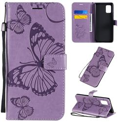 Embossing 3D Butterfly Leather Wallet Case for Samsung Galaxy A71 5G - Purple