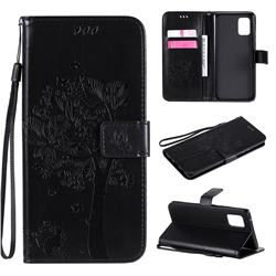 Embossing Butterfly Tree Leather Wallet Case for Samsung Galaxy A71 5G - Black