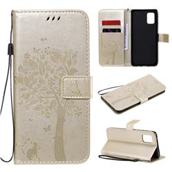 Embossing Butterfly Tree Leather Wallet Case for Samsung Galaxy A71 5G - Champagne