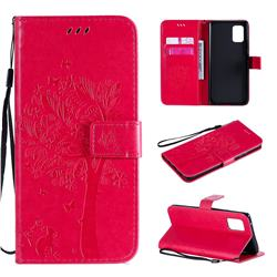 Embossing Butterfly Tree Leather Wallet Case for Samsung Galaxy A71 5G - Rose