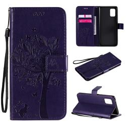 Embossing Butterfly Tree Leather Wallet Case for Samsung Galaxy A71 5G - Purple