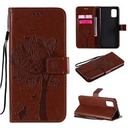 Embossing Butterfly Tree Leather Wallet Case for Samsung Galaxy A71 5G - Coffee