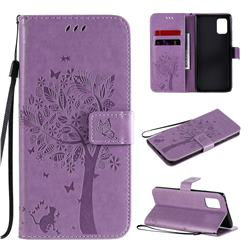 Embossing Butterfly Tree Leather Wallet Case for Samsung Galaxy A71 5G - Violet