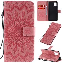 Embossing Sunflower Leather Wallet Case for Samsung Galaxy A71 5G - Pink