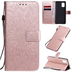 Embossing Sunflower Leather Wallet Case for Samsung Galaxy A71 5G - Rose Gold