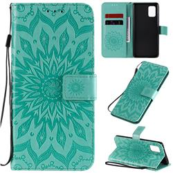 Embossing Sunflower Leather Wallet Case for Samsung Galaxy A71 5G - Green