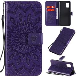 Embossing Sunflower Leather Wallet Case for Samsung Galaxy A71 5G - Purple