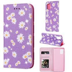 Ultra Slim Daisy Sparkle Glitter Powder Magnetic Leather Wallet Case for Samsung Galaxy A71 5G - Purple