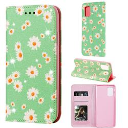 Ultra Slim Daisy Sparkle Glitter Powder Magnetic Leather Wallet Case for Samsung Galaxy A71 5G - Green