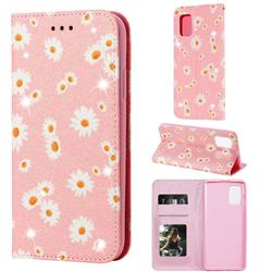 Ultra Slim Daisy Sparkle Glitter Powder Magnetic Leather Wallet Case for Samsung Galaxy A71 5G - Pink