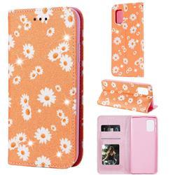 Ultra Slim Daisy Sparkle Glitter Powder Magnetic Leather Wallet Case for Samsung Galaxy A71 5G - Orange